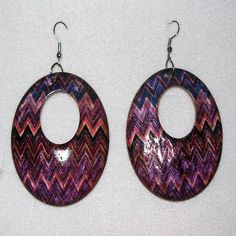 "Handmade and hand painted, coconut shell, purple, zigzag dangle earrings. -- For Sale @ ""World Of Whimsy"" Group: https://www.facebook.com/groups/WorldOfWhimsy"
