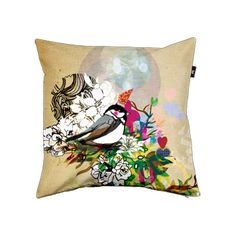 The bold color of this bird pillow will look stunning against crisp white leather chairs.