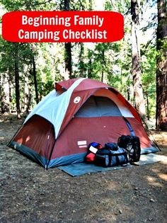 "Beginner's list for Family Camping - never thought of bringing a second ""play"" tent for the kids!"