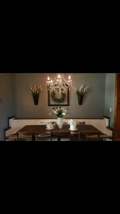 Small eat in kitchen! Church pew and cafe style tables. Eat In Kitchen, Updated Kitchen, Table And Chairs, Tables, Cafe Style, Mesas, Kitchen Redo, Renovated Kitchen, Kitchen Remodel