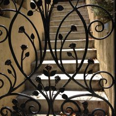 Wrought iron gate with roses