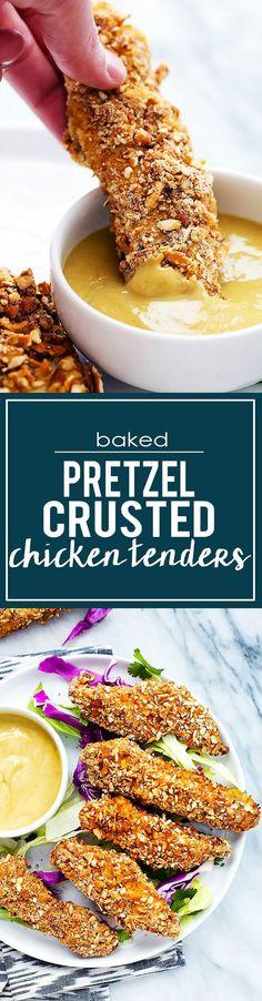 Baked Pretzel Crusted Chicken Tenders   Creme de la Crumb