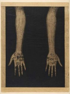 Lesley Dill - I felt my life with both my hands to see if it was there. #hand