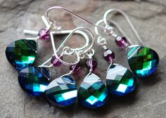 Peacock Bridesmaid Earrings, Blue Green Swarovski Crystal, Choose your Accent Color, Sterling Silver Wire Wrapped. $20.50, via Etsy.