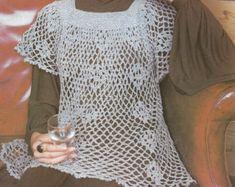 Vintage Crochet Pattern, Ladies Smock Top Pattern , Crochet Pattern , PDF pattern -