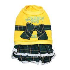Vestido com Laço Xadrez Amarelo Gutti Pet - MeuAmigoPet.com.br #petshop #cachorro #cão #meuamigopet