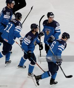 Sebastian Aho and Julius Honka of Finland celebrate a goal with teammattes during the 2017 IIHF Ice Hockey World Championship game between Finland and Czech Republic at AccorHotels Arena on May 2017 in Paris, France. Hurricanes Hockey, Hockey World, Championship Game, Washington Capitals, Ice Hockey, Finland, Nhl, Motorcycle Jacket, Goals
