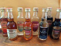 Stock Miniature Liquor Bottles  (Vintage Imported Alcohol Bottle, Multiple Flavors, Apricot, Blackberry, Anisette, Mandarino Punch, Bora Sambuca, & Gran Gala Liqueur)