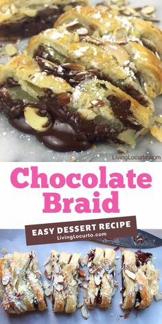 Chocolate Braid Dessert Recipe This easy chocolate braid is warm gooey chocolate baked inside of a tasty crescent puff pastry. An easy almond topped chocolate braid recipe for brunch, breakfast, or school party! Köstliche Desserts, Summer Desserts, Chocolate Desserts, Delicious Desserts, Dessert Recipes, Christmas Desserts, Cannoli, Almond Pastry, Flaky Pastry