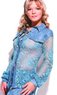 Elegante crochet y tela, linda combinación