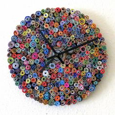 Wall Clock, Home and Living, Featured In Vogue, Paper Clock, Eco Friendly Decor, Recycled Art, Home Decor. $120.00, via Etsy.