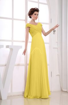 bce348c68ca Huge savings on Pale Yellow Bridesmaid Dress - Vintage Empire Short Sleeve  Zipper Chiffon Floor Length Long