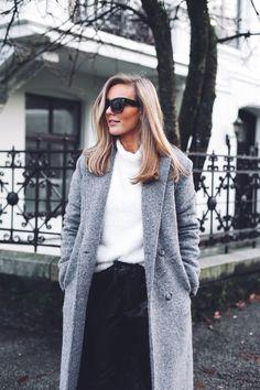Grey coat + white knit + leather pants