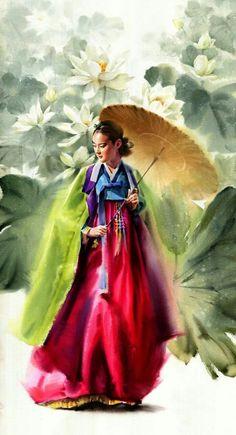 Misulbu Atelier, September 2016 ... Watercolor Paintings For Beginners, Watercolor Artwork, Watercolor Portraits, Watercolor And Ink, Watercolor Illustration, Korean Art, Asian Art, Art Series, Drawing Skills
