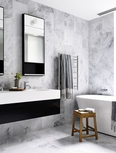 Black and White Bathroom Decor . 24 Luxury Black and White Bathroom Decor . How to Master the Black Bathroom Trend Pivotech Grey Marble Bathroom, Small Bathroom Paint, Small Bathroom Colors, White Bathroom Decor, Gray And White Bathroom, Grey Bathrooms, Modern Bathroom Design, Bathroom Interior Design, Beautiful Bathrooms