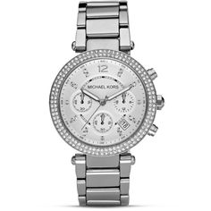 Michael Kors Pave Parker Watch, 39mm ($280) ❤ liked on Polyvore featuring jewelry, watches, accessories, silver, pave watches, silver jewelry, michael michael kors, silver watches and silver jewellery