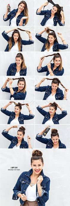Twisted Top Knot How-To - 16 Heatless DIY Hairstyles To Get You Through The Summer | GleamItUp