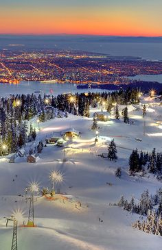 Grouse Mountain ski area- North Shore Mountains of the Pacific Ranges in North Vancouver, British Columbia, Canada Places Around The World, Oh The Places You'll Go, Places To Visit, Around The Worlds, British Columbia, Canada Eh, North Vancouver, Vancouver Winter, Ski
