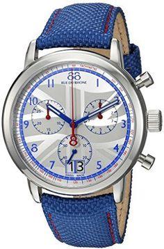 88 Rue du Rhone Men's 'Double 8 Origin' Swiss Quartz Stainless Steel and Leather Dress Watch, Color:Blue (Model: 87WA154507)