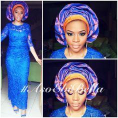 aso ebi, asoebi, asoebibella, blue and orange dress gele Nigerian wedding bride