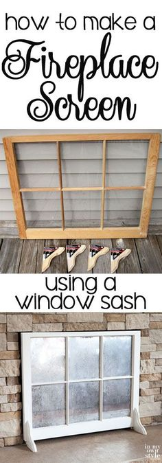 Create a unique fireplace screen for your home using an old window sash.  Step-by-step photo tutorial shows you how easy it is.