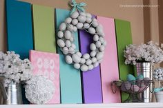 Easter Display. Love the colored boards