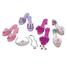 Dress Up Shoes and Accessories Set: Dress up shoes for every pretend play outfit, in one great value accessory set! From princess to pop star, our sparkly dress-up shoes and accessory set completes any costume ensemble Includes four pairs of glamorous shoes, trimmed with sequins, bows, rosettes, and marabou, plus glittering tiara and matching jewelry (necklace, clip-on earrings, and ring)...