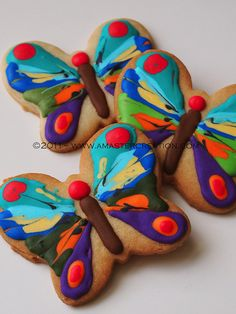 2011-Very Hungry Caterpillar Butterfly cookies made for a friend's daughter's first birthday.