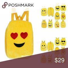 Love Expression - Emojii Backpack Hearts for eyes with a big smile. There are side pockets on both sides. 100% poly. Lined with adjustable straps.   Summer school. Back to school. Baby bag. Breaux Mode Accessories Bags
