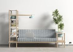 Herb is a multifunctional sofa by Milan-based, Istanbul-born designer Burak Kocak that combines storage, lighting, decoration and seating in one convenient piece of furniture. The sofa is bordered by modular accessories, including a shelving unit. Sofa Design, Interior Design, Interior Modern, Furniture Decor, Furniture Design, Multifunctional Furniture, Deco Design, Design Blog, Home And Deco