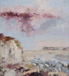 De Kust | Landschap, Abstracte Kunst, Olieverf, Schilderij, Kleurrijk | 90x80cm Annemiki Bok