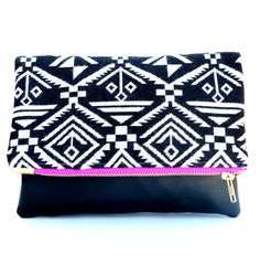 Clutch  Black and White Tribal Aztec Clutch  Foldover by kailochic