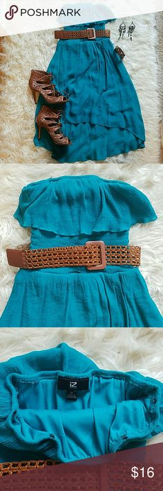 Iz byer turquoise dress Turquoise, with brown belt, asymmetrical dress. Hanging ties taken off. Worn few times. Comfortable, summer dress. Iz Byer Dresses Asymmetrical