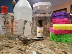 DIY Fabric Softener   2 cups of white vinegar   20 drops of your favorite essential oil   1 T of witch hazel or rubbing alcohol    Quart-size container    6-8 1/2 sponges or washcloths   Add vinegar, essential oils and witch hazel to container . Add your cut sponges or washcloths and shake. Then add one sponge or washcloth to dryer to prevent static cling and give your clothing a fresh, clean scent. Watch the how-to video here.