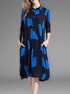 #AdoreWe StyleWe Midi Dresses - NEDO Pockets Half Sleeve Geometric Silk Midi Dress - AdoreWe.com
