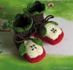 """Knitted Baby booties """"Two Apple halves"""", baby shoes, hand knit baby shoes / size 0-3M. via Etsy."""