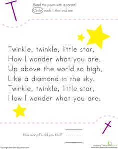 Worksheets: Find the Letter T: Twinkle, Twinkle, Little Star