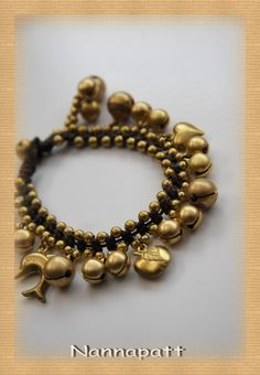 Thai handmade Jingle bell bracelet woven with dark brown wax rope weaved togeter with brass beads and brass bells on Halloween on Etsy, ฿250.00