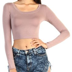 LISTING: TAUPE LONG SLEEVE CROP TOP!!! Cute long sleeve taupe crop top!! Tops Crop Tops