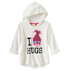 "Girls 4-7 DreamWorks Trolls Poppy ""I Love Hugs"" Glitter High-Low Hatchi Hoodie, Girl's, Size:"