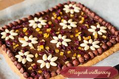 mazurek wielkanocny Polish Desserts, Polish Recipes, Sweet Recipes, Cake Recipes, Dessert Recipes, Delicious Desserts, Yummy Food, Easter Dinner, Kochen