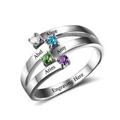 Personalised Double V Split Band Ring, 925 Sterling Silver