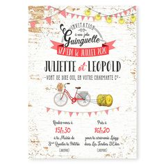 faire-part mariage ambiance guinguette guirlandes et fanions vichy vélo original Wedding Party Invites, Wedding Stationery, Wedding Day, Perfect Marriage, Invitations, Web Design, Messages, Weddings, Champagne