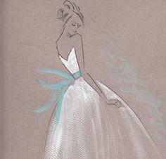 Bridal gown fashion sketch personalised by DarbyIllustrations