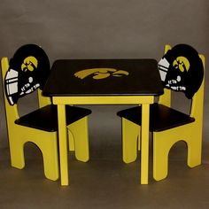 Football Team Table and Helmet Chair Set by GreatCustomFurniture, $193.00~~wish I could afford this for our Hawkeye room!  love, love, love!