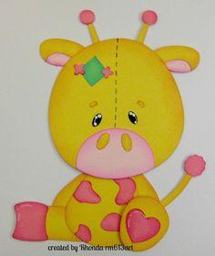 Stuffed Giraffe boy/girl paper piecing premade scrapbook pages -Rhonda rm613art