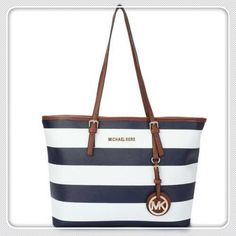 I LOVE this #michael #kors #purses Jet Set Striped Travel Large Blue White Totes and I'm not even a huge Coach type of girl