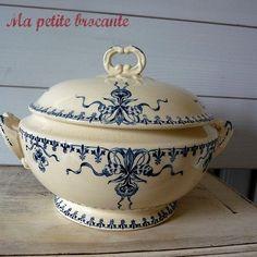 ancienne soupi re terre de fer porcelaine opaque gien ch vrefeuille ebay vaisselle. Black Bedroom Furniture Sets. Home Design Ideas
