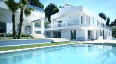 Love the fresh white and colour of this pool