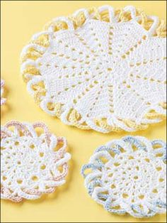 Crochet for the Home - Kitchen Crochet Patterns - Coaster Refreshment Set - Easy Crochet Coaster Pattern Crochet Coaster Pattern, Crochet Motif, Crochet Doilies, Free Crochet, Crochet House, Crochet Placemats, Crochet Potholders, Doily Patterns, Easy Crochet Patterns